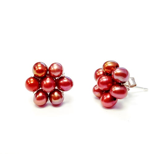 Genuine Cramberry Freshwater Flower Shape Earrings