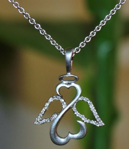 Beautiful White Gold Plated Open Heart Angel CZ Necklace