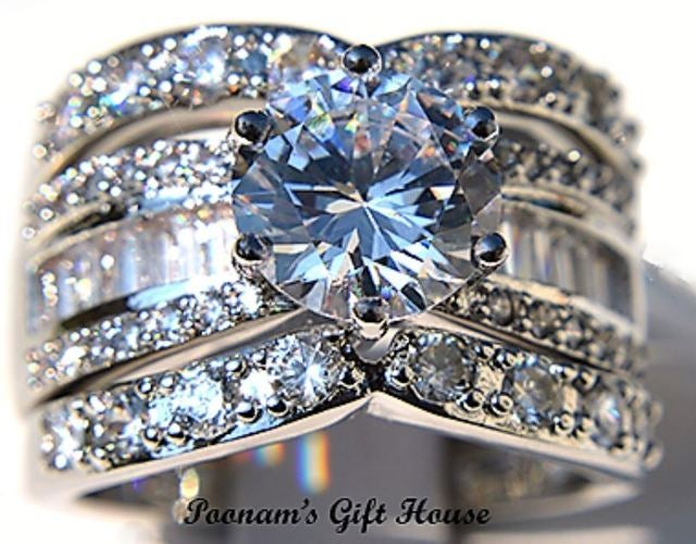 Prestigious 4.46 CT. Cubic Zirconia Bridal Engagement Wedding Ring Set