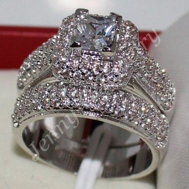 Women White Diamonique wedding ring