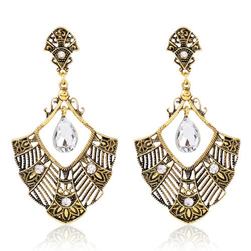 Gold Retro Hollow Carved Exaggeration Drop Crystal Earrings