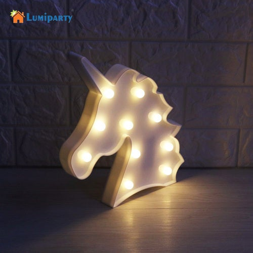 LumiParty 3D LED Unicorn Marquee Light Warm White LED Marquee Sign LED Light up Unicorn Letters Lamp for Home Decoration