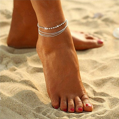 Delicate Multilayer Sexy Crystal Anklet Foot Chain Summer Charm Anklet Foot Jewe