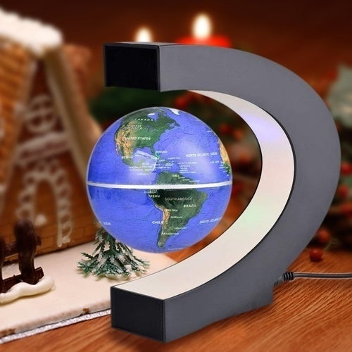 C shape LED World Map Decor Home Electronic Magnetic Levitation Floating Globe Antigravity LED Light