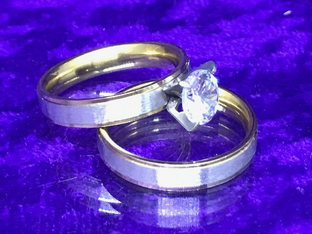 18Kt Gold & Titanium 1CT Solitaire Wedding Ring Set Size 6-9