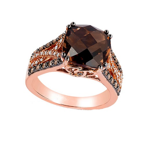 Cushion Cut RGP Chocolate CZ Ring #865