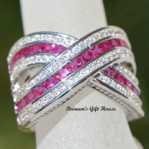 Stunning Hot Pink Criss Cross Design Wedding Ring