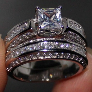 Unique Exquisite Fashion Zircon Square Engagement Rings Set White Gold AAA Zirco