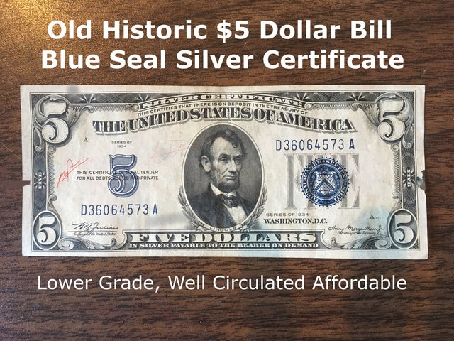 5 1934 Historic Bill Old Us Currency With Blue Seal Tophatter