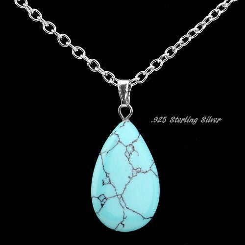 Sterling Silver Genuine Turquoise Tear Drop Pendant Necklace