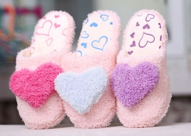 Lovely Soft Lovers Home Floor Soft Cotton-padded Slippers Shoes Cute Heart Indoor Sandals Cheap Sale