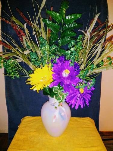 58 inch high hand made artificial floral arrangment