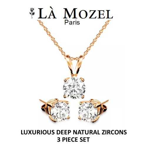 Gorgeous 3 Piece Set: 3 Carat Total Weight Luxurious Cubic Zirconia Necklace & Earring Matching Set - Rose Gold