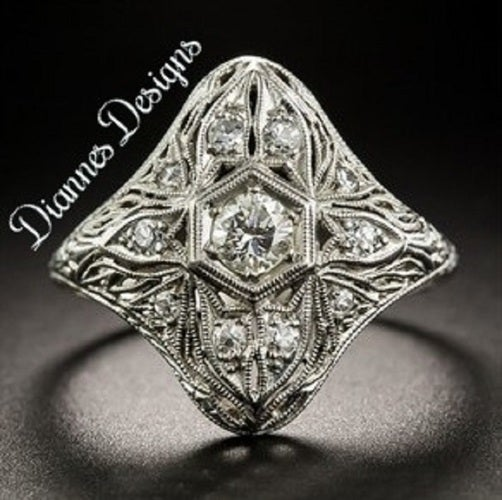 Vintage Inspired Filigree Ring 20x19mm By Diannes Designs
