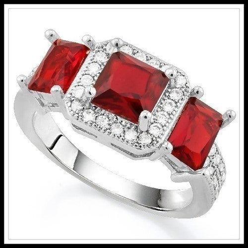 14k White Gold Filled, Beautifully Created Fine Garnet & White Sapphire Ring Sm9181