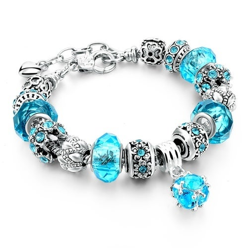 European Charm Beads Bracelet & Bangle Authentic Crystal Chain Bracelets for Women Girls DIY Silver Color Jewelry