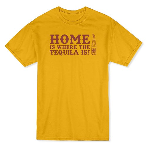 Home Is Where The Tequila Is Funny Men's Gold T-shirt