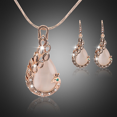 Peacock Crystal Jewelry Set Luxury Necklace and Earrings