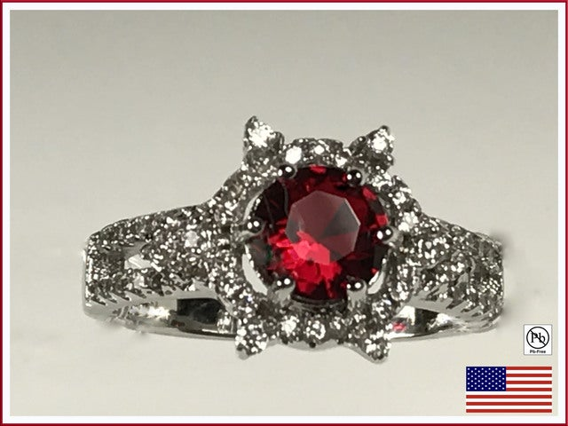 Cubic Zirconia on Silver Ring. Size 7, 8 or 9.