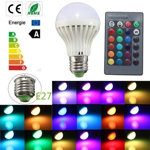 E27 5W 16 Color Changing RGB LED Light Party Bulb Home Lamp+24 Key IR Remote