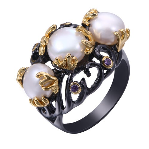Black Rhodium Plated Triple Freshwater Pearl and CZ Statement Ring