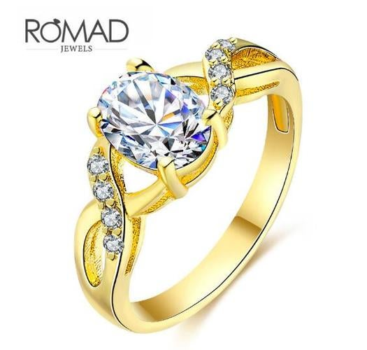 Jewelry Women 18K Yellow Gold Filled Ring AAA CZ Wedding Ring