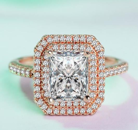 Luxurious Rose Gold Plated Ring Women Jewelry Wedding Engagement Wedding Ring