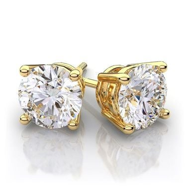 Genuine 14K Gold 1.5 ct Round Brilliant Cut Stud Earrings