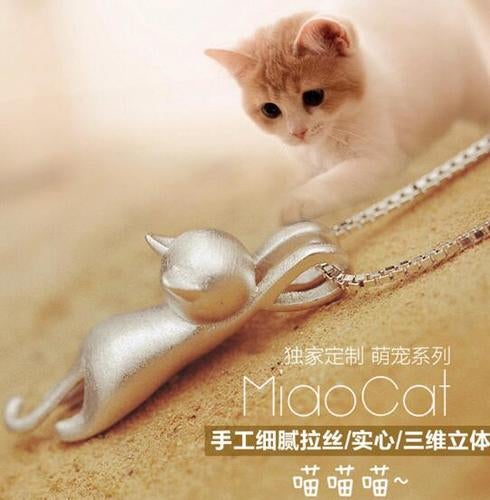 Sterling Silver Cute Little Cat Necklace