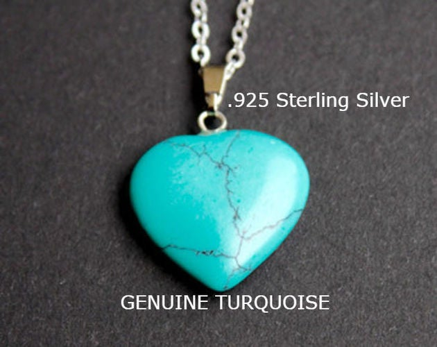 Sterling Silver Chain Genuine Turquoise Heart Necklace