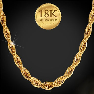 6MM Rope Chain, 18K Gold Plated Necklace 20 inch