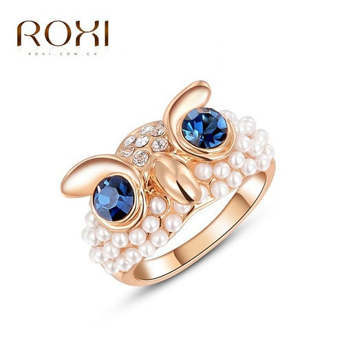 Austria Crystal Rose Gold Owl Pearl Ring