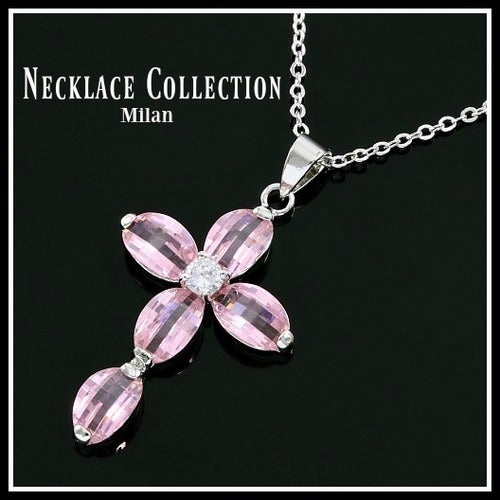 "Pink Checkerboard Cut AAA Grade CZ Cross 16"" Long Necklace sm933"
