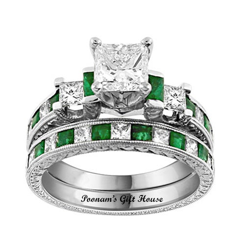 2.66 Carat Green/Clear CZ Engagement Ring & Wedding Band Set