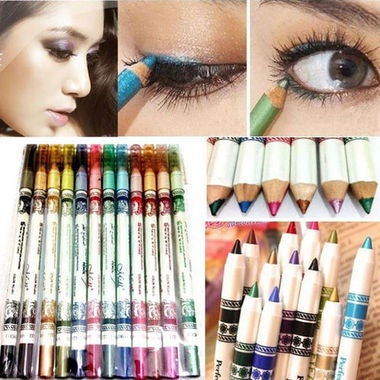 12PCS Lip Liner Eye Shadow Eyeliner Pencil Professional Makeup Set 12 Colours