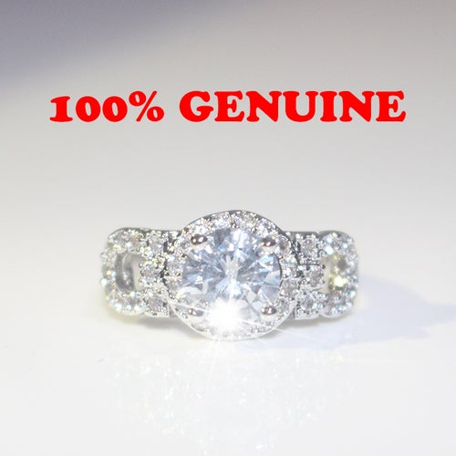 Genuine Item Picture White Gold Color Clear Zircon Engagement Women Ring for Women
