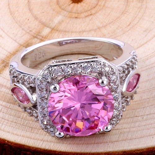 Exquisite Pink Topaz Sterling Silver 925 Ring