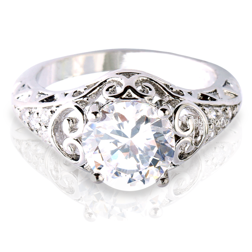 Vintage Style 1.5 ct White Sapphire Sterling Silver Ring
