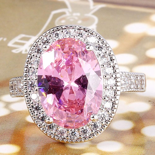 Amazing Pink & White Sapphire Sterling Silver 925 Ring