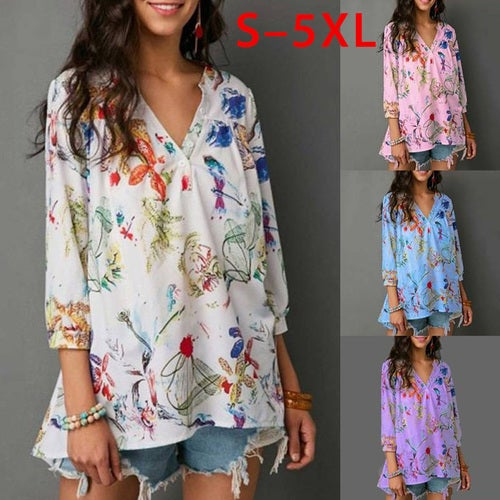 8ef26ecba11 Plus Size S-5XL Women Floral Printed V Neck Tops Cas...
