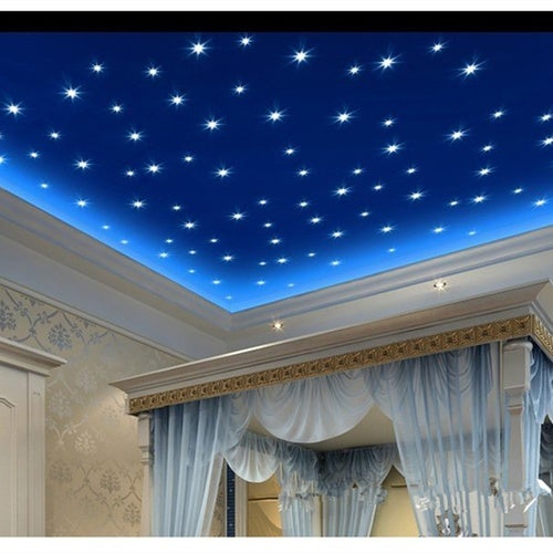 100pcs 3D Stars Glow In The Dark Luminous Fluorescent Plastic Wall Stickers Living Home Decor For Kids Rooms