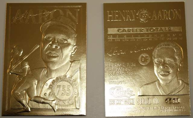 HANK AARON * 755 Home Run King * 1996 Sculptured 23KT Gold Card Serial #'d NM-MT