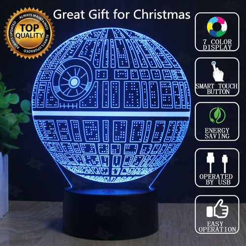 Great Gift for Christmas Cool 3D Illusion Platform Night Lighting Touch Botton 7 Color Change Decor LED Lamp