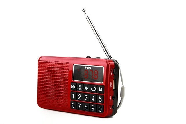 Portable Rechargeable Digital LED Display Panel Stereo FM/MW/SW Radio Speaker Support USB TF Mirco AUX SD Card MP3 Music Player for The Elderly-(Red)