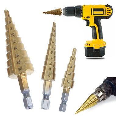 3pcs/set HSS Step Cone Drill Bits Set Titanium Coated Hole Cutter 3-12mm 4-12mm