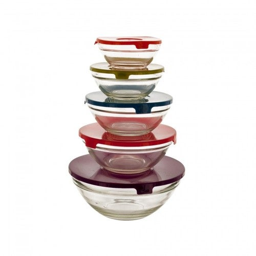 Set of 5 Small Glass Lunch Bowls with 5 Lids.