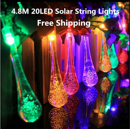 Free Shipping!!! Great Christmas Gift for Your Family and Friends!!! Super Beautiful Waterproof 4.8M 20 LED Water Drop Solar String Lights for Garden, Patio, Yard, Home, Parties,Christmas Tree