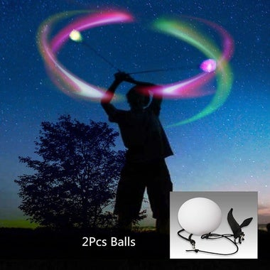 1 Pair LED Glow POI Thrown Balls Light Up Handball 7 Colors For Party Belly Danc