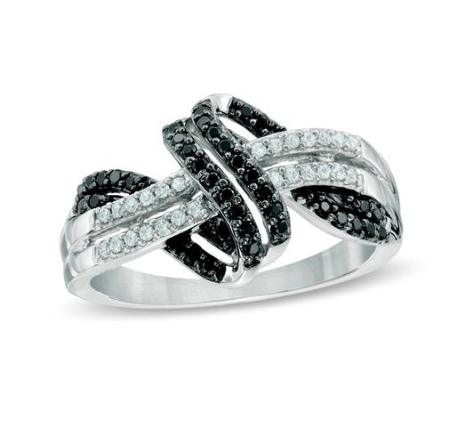 Brilliant Knot Ring Two tone stones Black and white