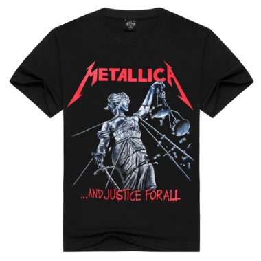 Men T Shirt Black T-Shirt Cotton Metallica Print Heavy Metal Rock Hip Hop Punk C